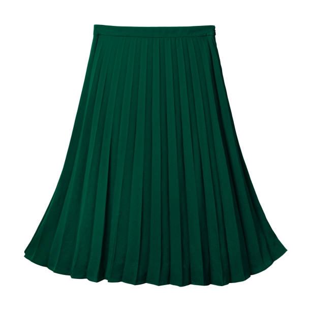 Deep dark green pleated midi skirt isolated on white stock photo