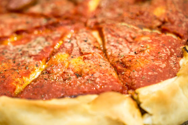 Deep Dish Pizza Closeup Photo stock photo