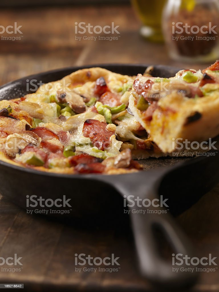 Deep Dish Skillet Pizza royalty-free stock photo
