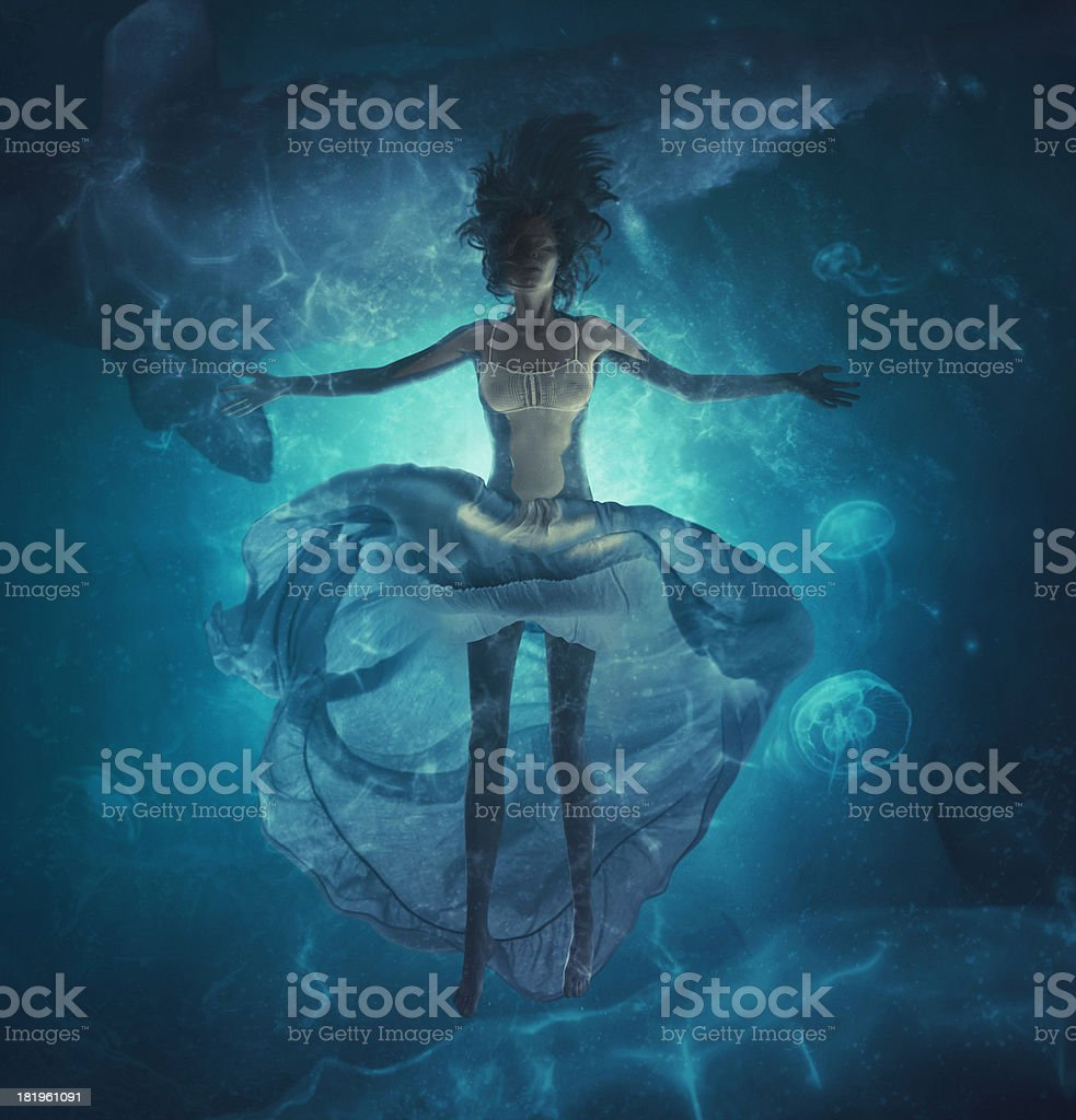 deep dreams in ocean stock photo