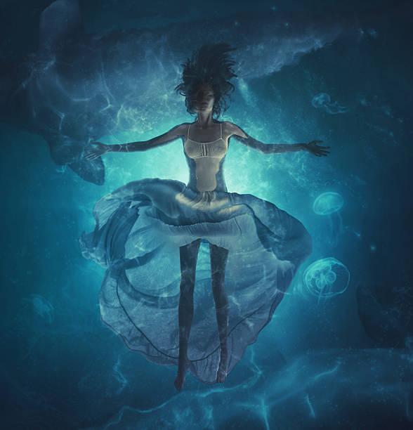 deep dreams in ocean stock photo