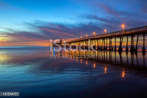 Imperial Beach Pier after sunset.  Taken with camera mounted on tripod to ensure a level horizon, and maximum image sharpness.  Imperial Beach is located in San Diego County.