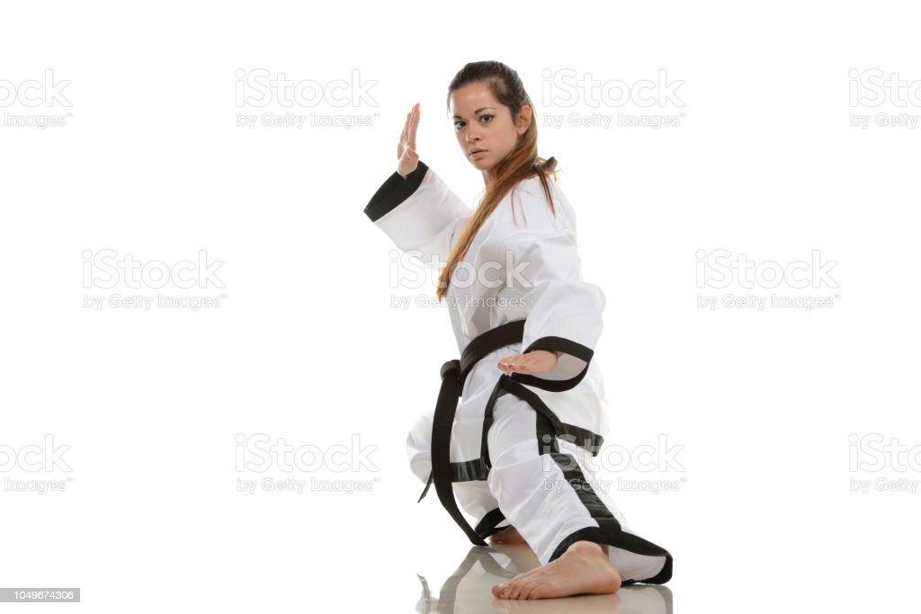 Deep Fighting Stance stock photo