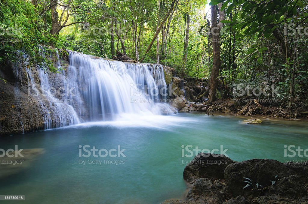 Deep forest Waterfall in Kanchanaburi, Thailand stock photo
