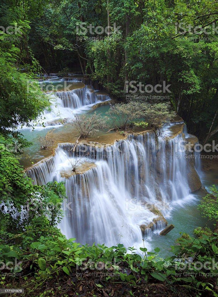 Deep forest Waterfall in Kanchanaburi, Thailand stock photo