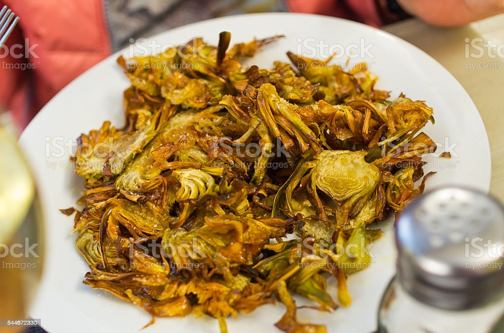 Deep fried artichoke stock photo