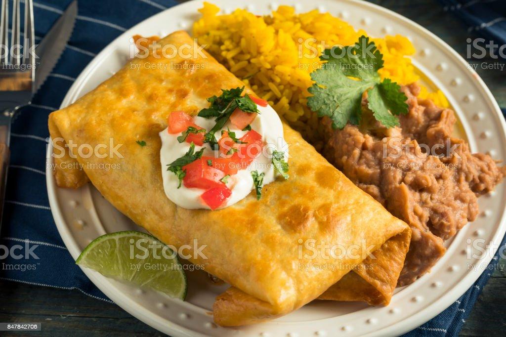 Deep Fried Beef Chimichanga Burrito stock photo