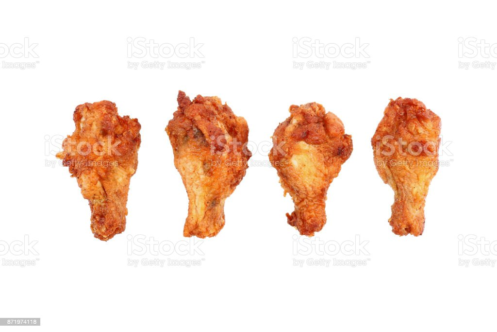 deep fried chicken thighs isolated on white stock photo