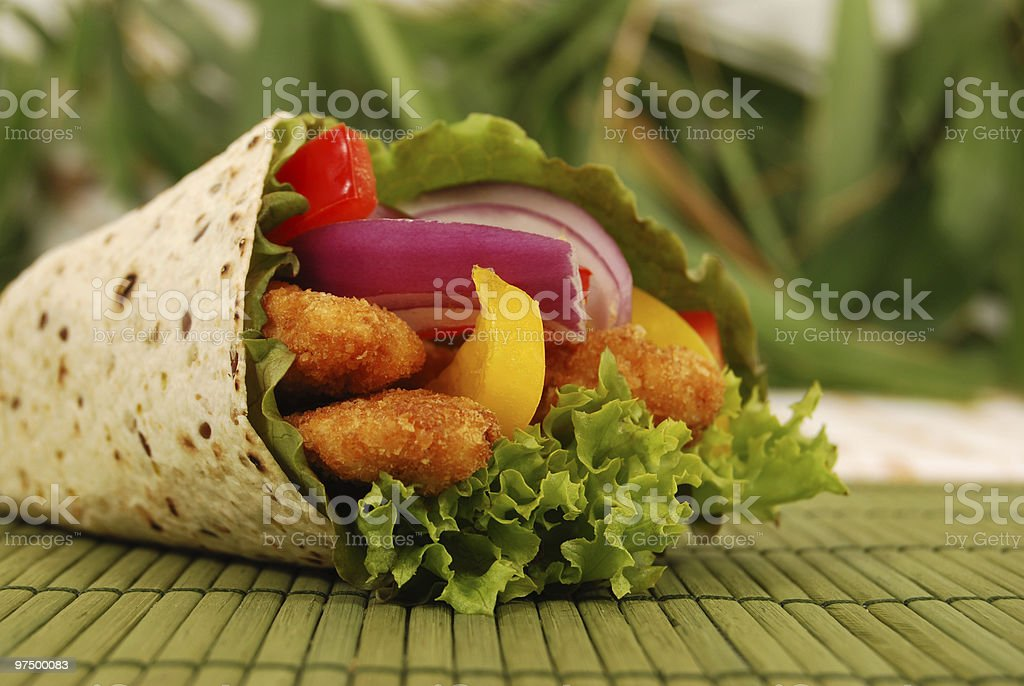 Deep fried chicken wrap sandwich royalty-free stock photo