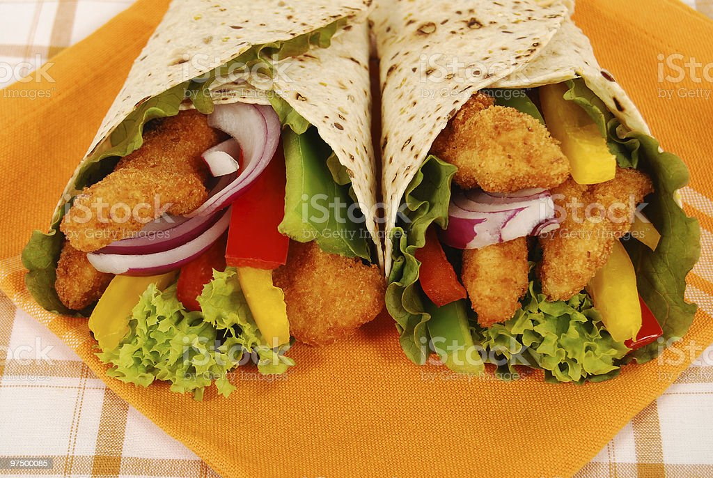 Deep fried chicken wrap sandwiches royalty-free stock photo