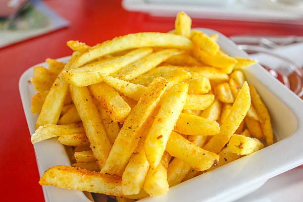 Deep fried french fries stock photo