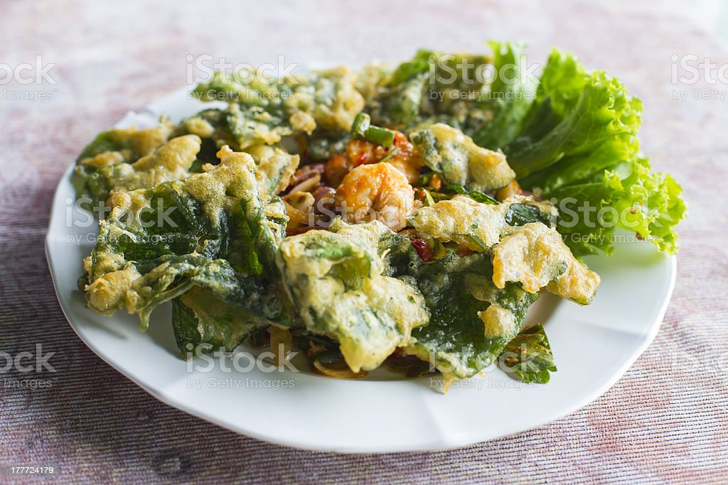 Deep fried ivy gourd salad with seafood royalty-free stock photo