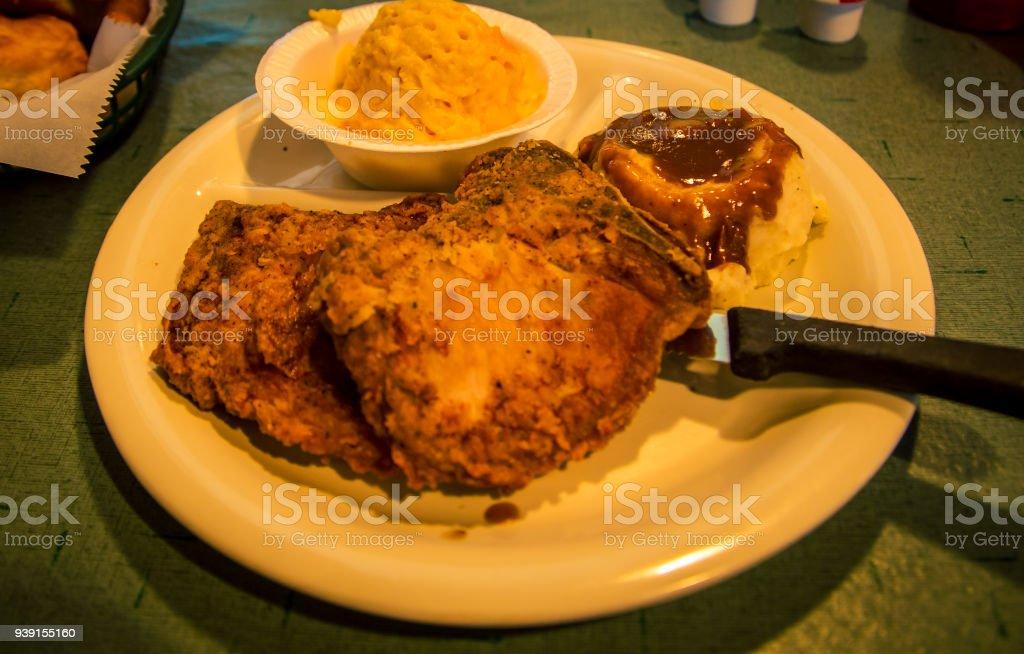 deep fried pork chop stock photo