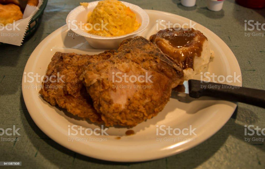 deep fried pork chops stock photo