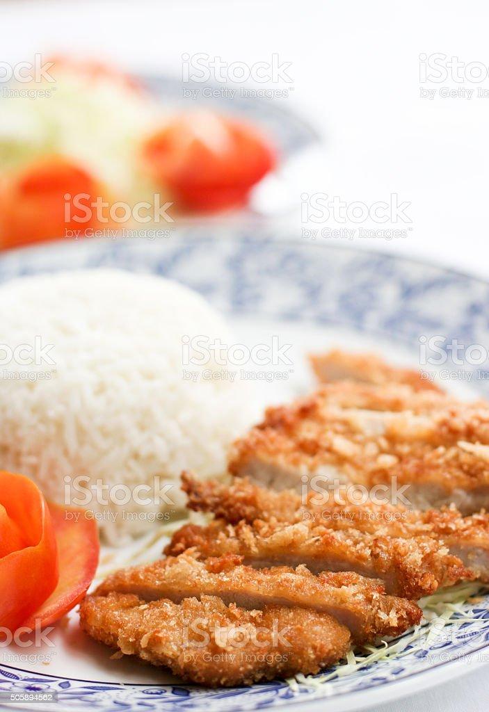 Deep fried pork with rice stock photo