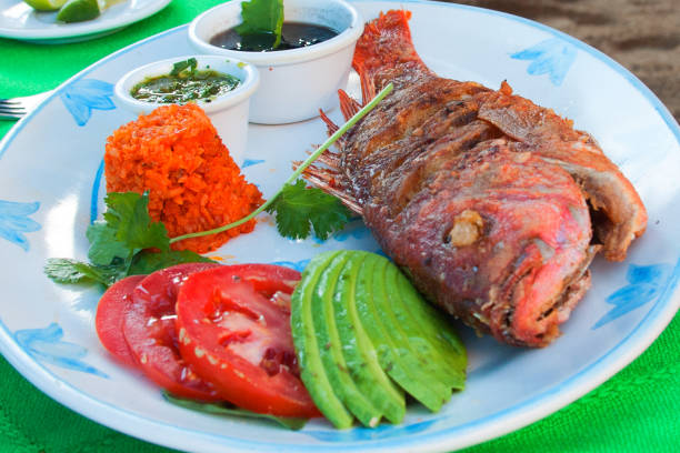 Deep Fried Red Snapper with avocado tomatoe rice and black black beans Deep Fried Red Snapper with avocado tomatoe rice and black black beans veracruz stock pictures, royalty-free photos & images