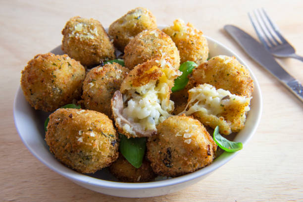 Deep Fried Risotto Balls stock photo