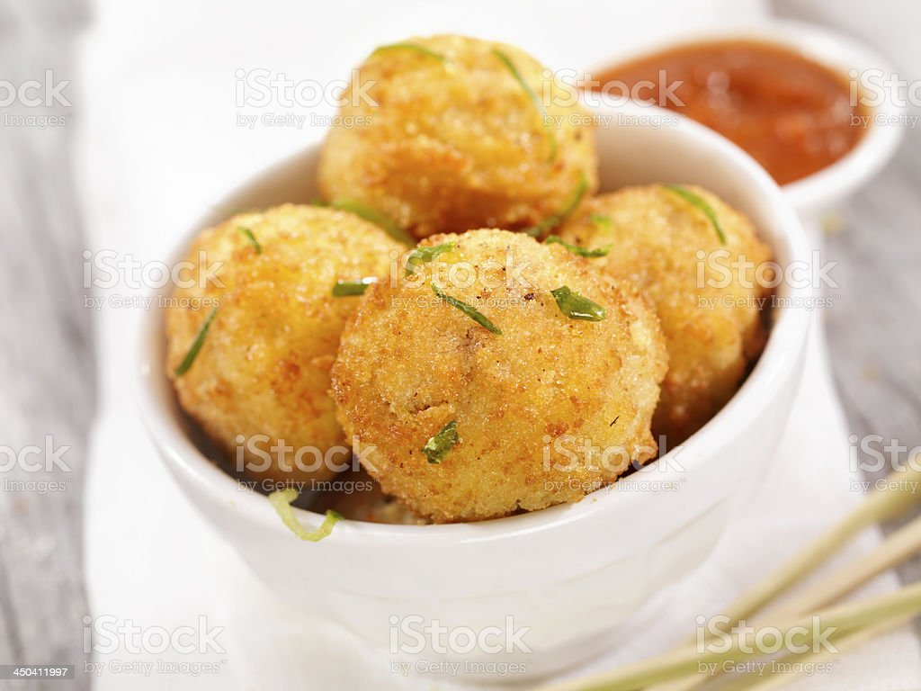 Deep Fried Risotto Balls stock photo