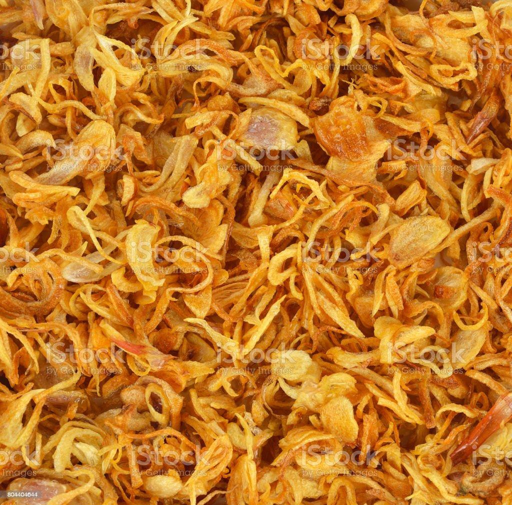 Deep fried shallots for garnishing stock photo