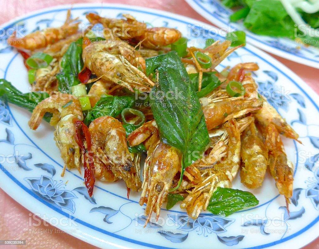 Deep fried shrimps  closeup royalty-free stock photo