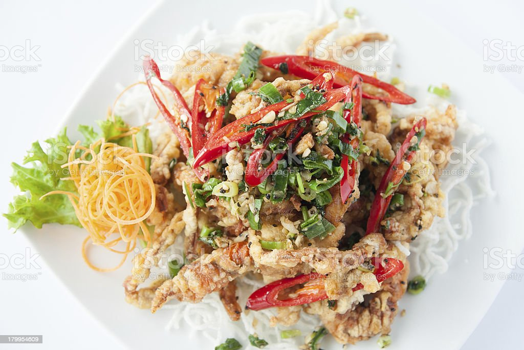 Deep fried soft shell crab. Thai style food. royalty-free stock photo