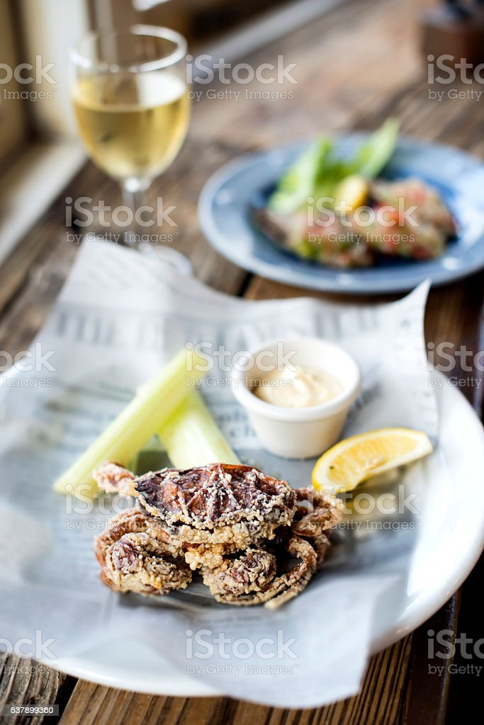 Deep Fried Softshell Crab stock photo