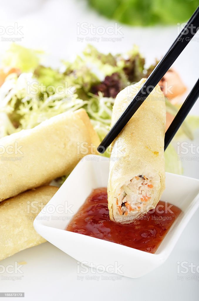 Deep fried spring roll royalty-free stock photo
