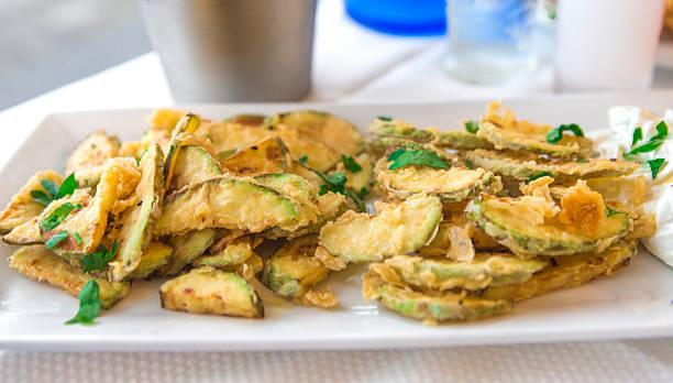 deep fried zucchini appetizer dish at thassos island kavala greece stok fotoğrafı