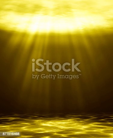 istock Deep golden water abstract natural background. 3D illustration 871516468