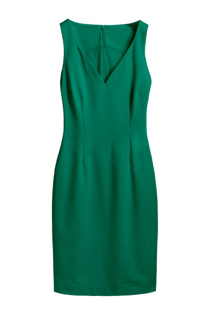 Deep green sea color elegant dress with v decollate isolated white stock photo