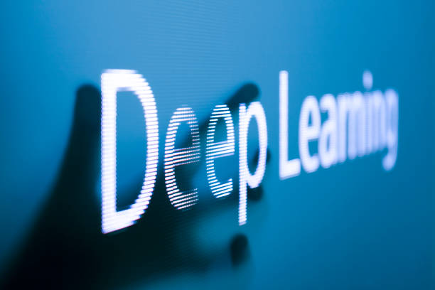 Deep learning in the screen point by hand stock photo