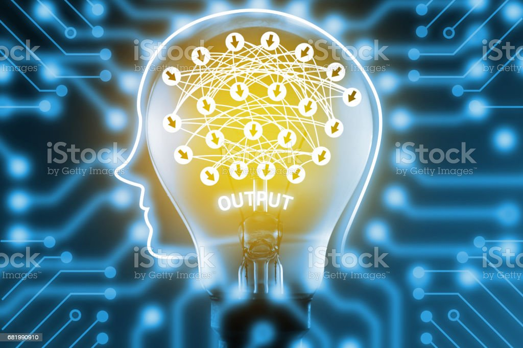 Deep learning , Machine learning and artificial intelligence concept. Robot brain on light bulb with deep learning connect and electric circuits graphic stock photo