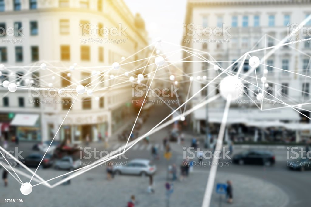 Deep learning , Neural networks , internet of things (IOT) , Machine learning and Artificial intelligence concept. Atom connect with blur city retail shop store background stock photo