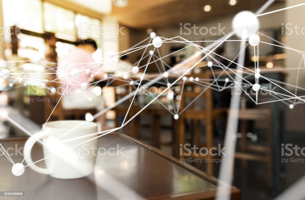 Deep learning , Neural networks , Machine learning and artificial intelligence concept. Atom connect with blur coffee shop or retail store background stock photo