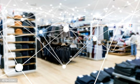 istock Deep learning , Neural networks , Machine learning and artificial intelligence concept. Atom connect with blur fashion retail shop store background 676433952