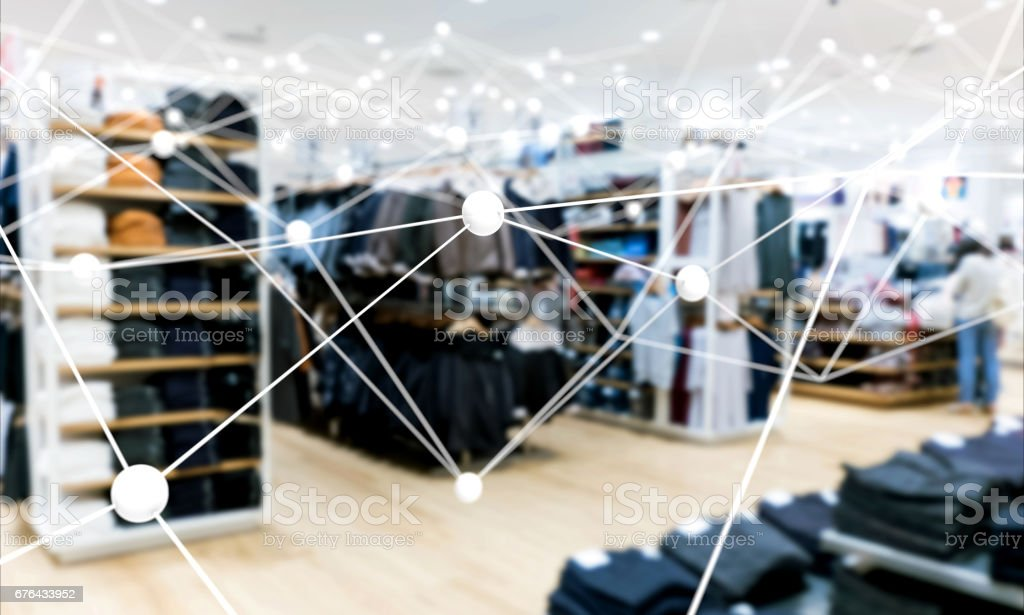 Deep learning , Neural networks , Machine learning and artificial intelligence concept. Atom connect with blur fashion retail shop store background stock photo
