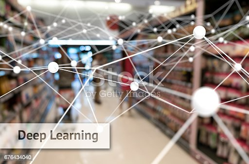 istock Deep learning , Neural networks , Machine learning and artificial intelligence concept. Atom connect and text with blur retail shop store background 676434040