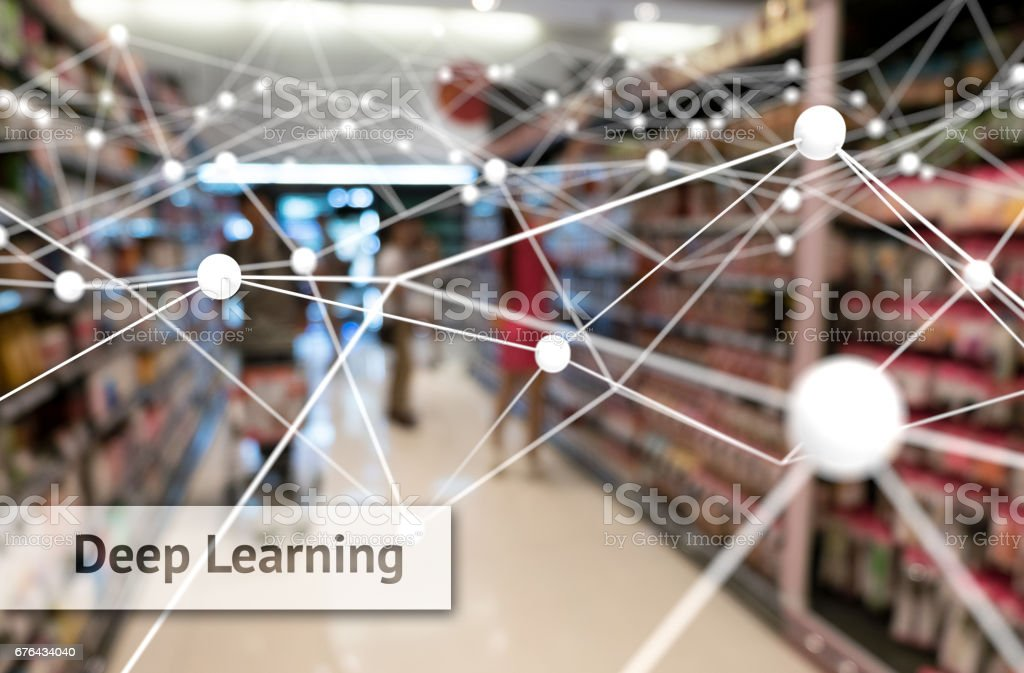 Deep learning , Neural networks , Machine learning and artificial intelligence concept. Atom connect and text with blur retail shop store background stock photo