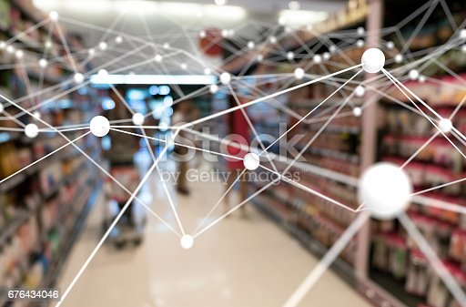 istock Deep learning , Neural networks , Machine learning and artificial intelligence concept. Atom connect with blur retail shop store background 676434046
