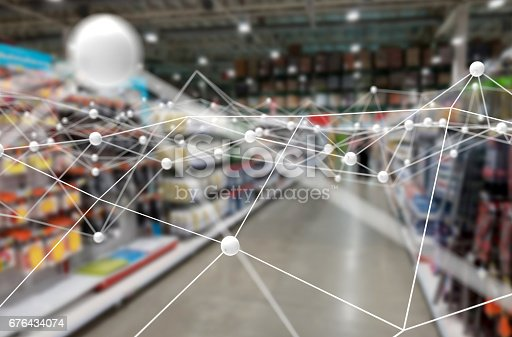 istock Deep learning , Neural networks , Machine learning and artificial intelligence concept. Atom connect with blur retail shop store background 676434074