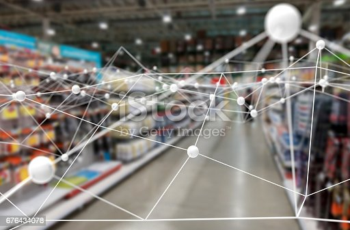 istock Deep learning , Neural networks , Machine learning and artificial intelligence concept. Atom connect with blur retail shop store background 676434078
