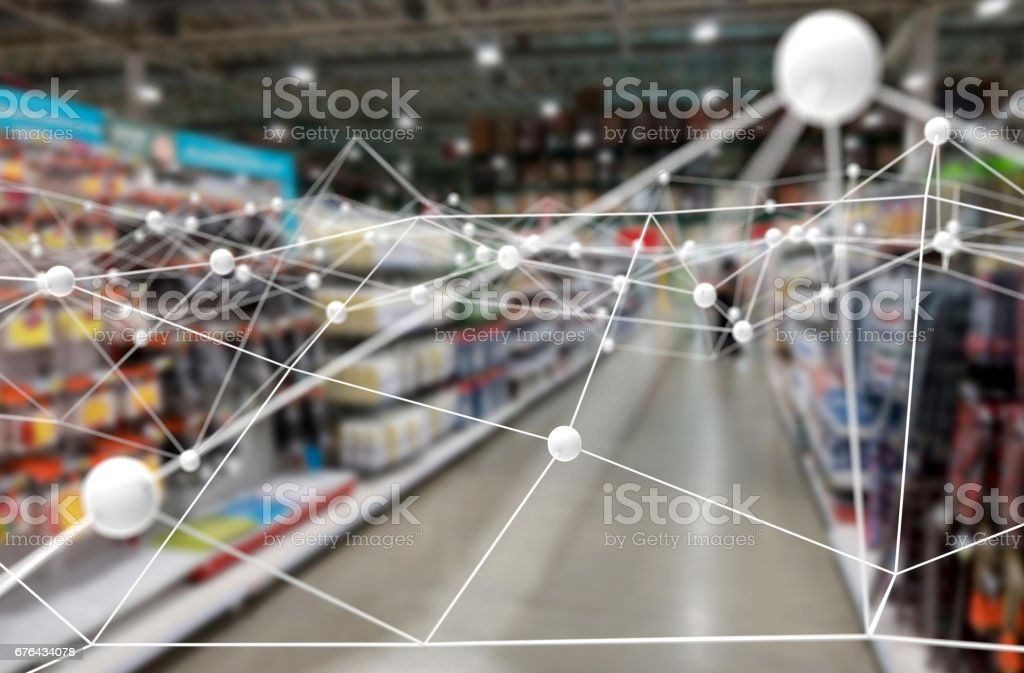Deep learning , Neural networks , Machine learning and artificial intelligence concept. Atom connect with blur retail shop store background stock photo