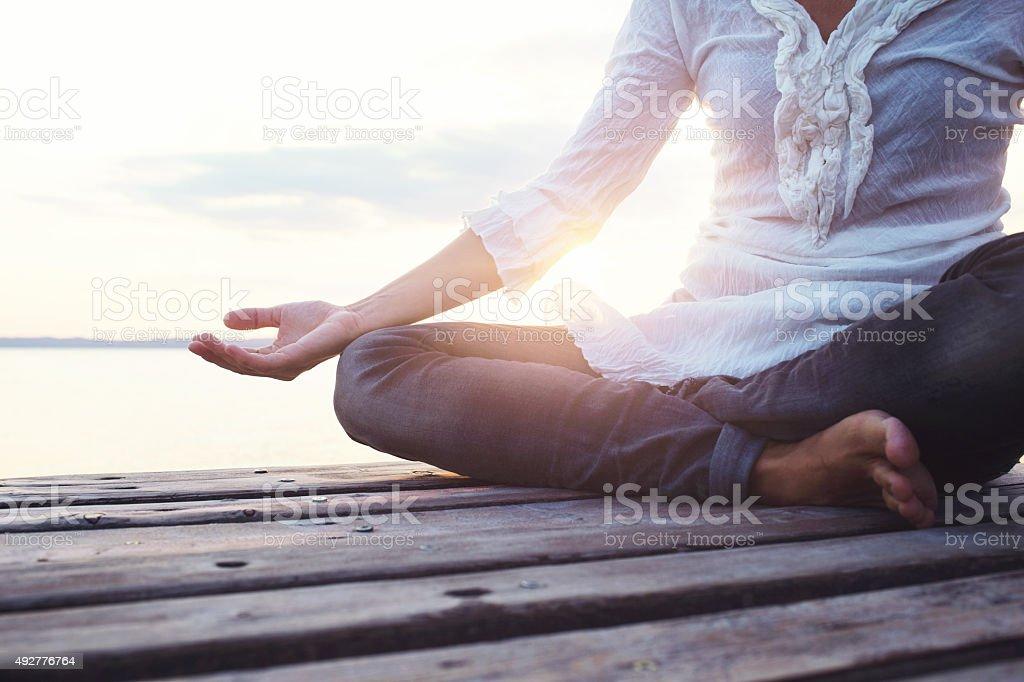 deep meditation open mind stock photo