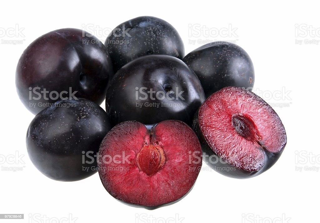 Deep red ripe plums isolated on white background stock photo