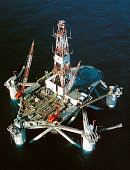 Aerial of a Sem-Submersible Deep Sea Drilling Rig in Position for Action