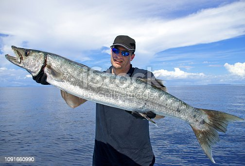 istock Deep sea fishing, catch of fish, barracuda 1091660990