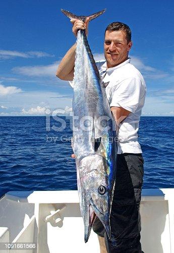 155674939 istock photo Deep sea fishing, catch of fish, wahoo 1091661566