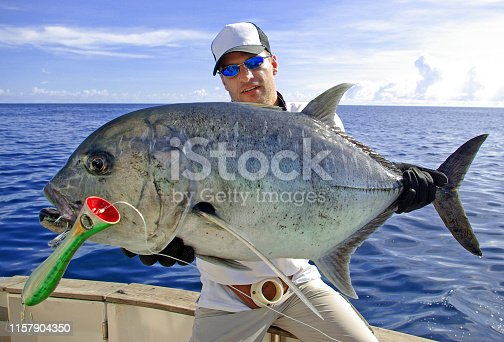 istock Deep sea fishing. Trevally jack 1157904350