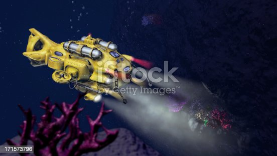 Deep sea research submarine rendering with deep ocean cliff scene with corals and other sea life.Hand made models with over 1500 parts. Global illumination, depth of field, volumetric lights and high quality shadows.