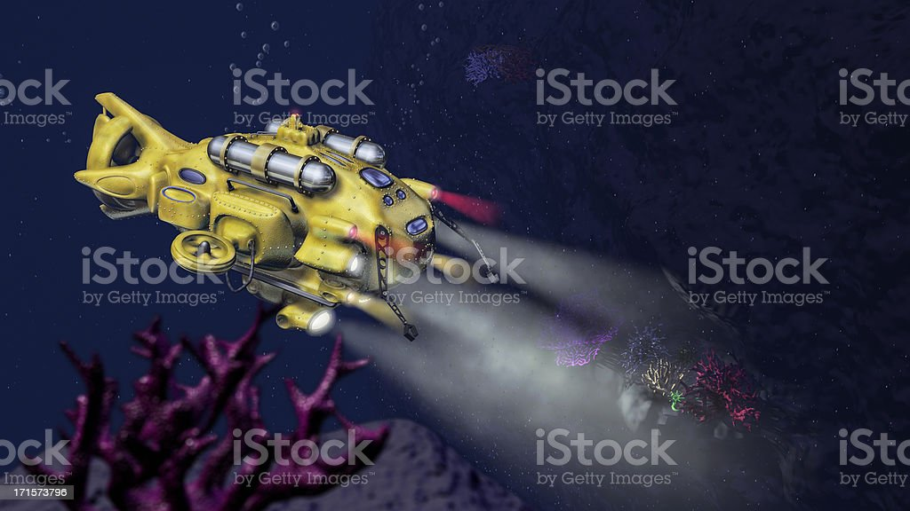 Deep Sea Research Submarine (3D) stock photo